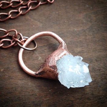 Quartz Necklace - Crystal Healing Necklace - Clear Quartz Chunk - Boho - Hippie Necklace