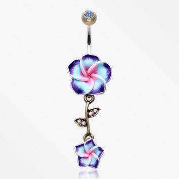 Vintage Boho Hawaiian Plumeria Belly Button Ring