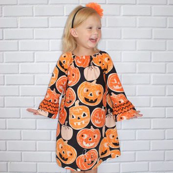 Girls Halloween Dress Orange Black Pumpkin Chevron Boutique Clothing By Lucky Lizzy's