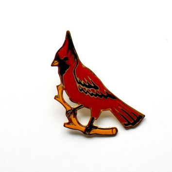 Vintage Cardinal Lapel Pin Enamel Big Red Yellow Brooch Tack Gold