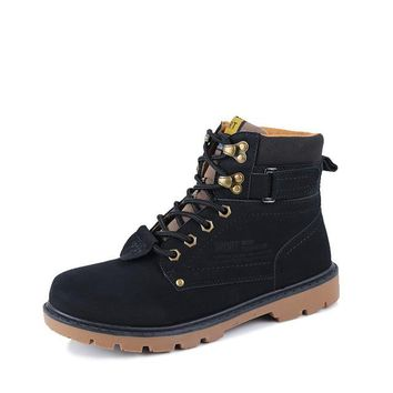 Winter Fur Men Boots Casual Lace Up Safety Work Boots Autumn Men Platform Shoes Rubber Snow Boot Man Big Size