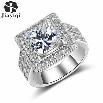 2017 Engagement Square-shape Ring for Women Wedding Band Zircon Silver Color Zircon Crystal Rings for Women whit free gift box