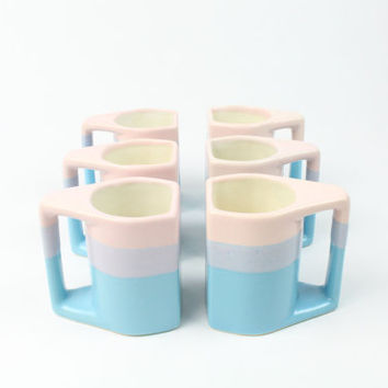 VINTAGE Stackable Mugs Pastel Pottery Padilla Set of 6 with Stand