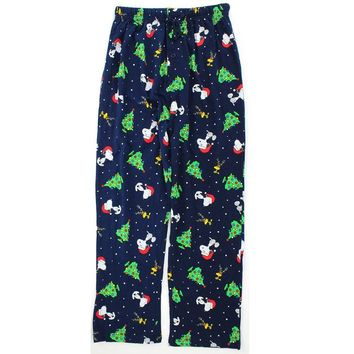 Peanuts Snoopy Mens Cotton Pajama Pants (XL, Snoopy Christmas)