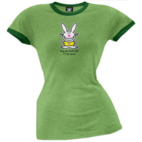 Happy Bunny - Buy Me Stuff Juniors Ringer T-Shirt