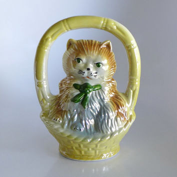 Lusterware Kitty in a Basket, Made in Brazil, Cat Figurine, Iridescent Ecru, Green Eyed Cat, Brown Gray Cat