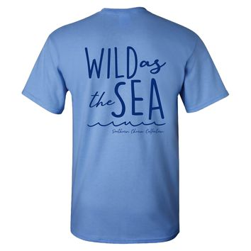Southern Charm Collection Wild As The Sea on a Carolina Blue T Shirt
