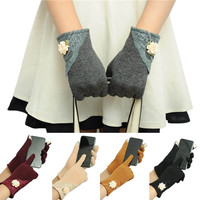 2015 Winter Warm Wrist Gloves Touch Screen Mittens Lace Cotton Glove For Women Girl (Size: 22 cm, Color: Black) = 1958060932