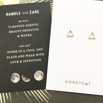 24K Plated Outline Triangle Stud Earrings