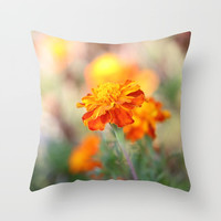 Marigolds In The Fall Throw Pillow by Theresa Campbell D'August Art