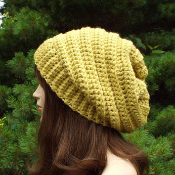 Chartreuse Slouchy Crochet Hat - Womens Slouch Beanie - Yellow Green Oversized Ribbed Cap - Chunky Hat