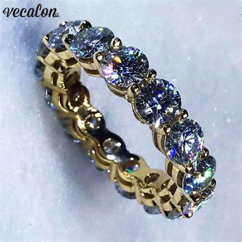 Vecalon Infinity Ring Yellow Gold Filled 925 Silver Engagement Wedding Band Ring For Women Men Aaaaa Zircon Cz Finger Ring