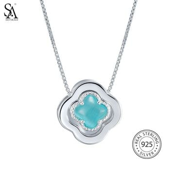SA SILVERAGE 925 Sterling Silver Long Necklaces Pendants Fine Jewelry Four Leaf Clover 925 Silver Maxi Pendant Necklace Women