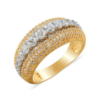 14k Solid Gold Wedding Band Ring Hand-Entgraved Pave Ring Best Price