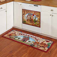 2 Pc  Farmers' Market Kitchen Rug & Dishwasher Magnet Set Farm Country Decor