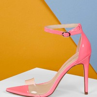 Vinyl Band Pointed Sole Ankle Strap Neon Heels