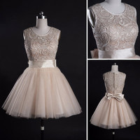Elegant top lace short prom dress