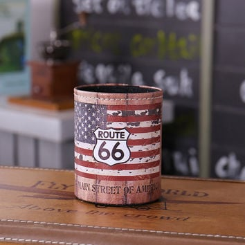 Antique Wood Slat USA American National Flag Route 66 PU leather Pencil Pen Holder Desk Organizer Storage Box Case