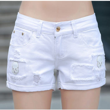 New Fashion Women Skull Denim Shorts Ladies White
