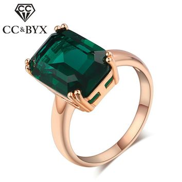 CC Rings For Women Ladies Vintage Ring Bridal Wedding Jewelry Rose Gold-Color Green Stone Drop Shipping Anillos Bijoux CC1241