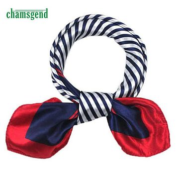 CHAMSGEND WillBeen Satin Silk Square Scarf Women Four Seasons Occupation Stripe Silk Satin Scarves May2 Drop Shipping