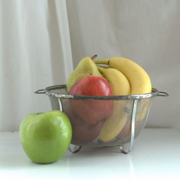 Farmhouse Vintage Metal Kitchen Strainer or Fruit Bowl