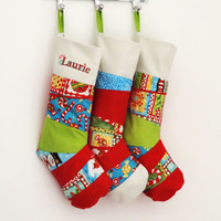 Set of 3 Personalized Christmas Stockings with Patchwork, Christmas Stockings in modern, bright Colours - Family Set - Lined and Unique