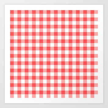 gingham red pattern Art Print by jessycat