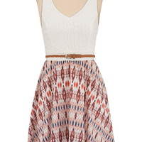 Lace top belted printed chiffon dress