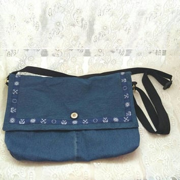 Denim cross body purse, small, reclaimed recycled vintage  textiles, eco friendly, couture, bohemian,  nautical, sailor anchor, navy blue