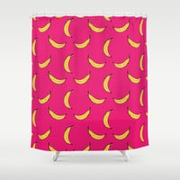 Pink Banana's Shower Curtain by Allyson Johnson