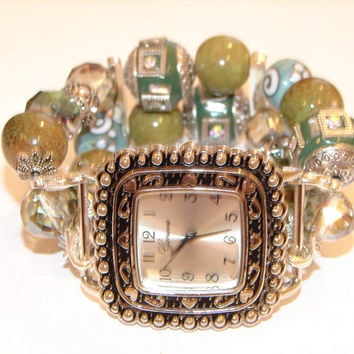 Shades of Green Chunky Beaded Watch-Interchangeable Watch-Green Bracelet Watch-BeadsnTime, Unique Gift-Removeable Geneva Watch Face
