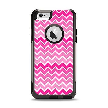 The Pink & White Ombre Chevron V2 Pattern Apple iPhone 6 Otterbox Commuter Case Skin Set