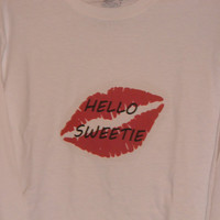 Hello Sweetie River Song Doctor Who Inspired Long Sleeve Tee. Customize To Size And Color.