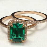 Diamond Wedding Ring Set!Emerald Engagement Ring 14K Rose Gold!6x8mm Emerald Cut Treated Green Emerald,Wedding Bridal Ring,Halo,Claw Prongs
