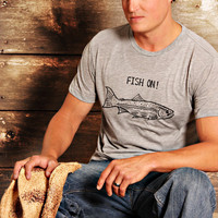 Fish On - Mens T Shirt - MEDIUM -  For The Fishing Camping Outdoorsy Guy - Hand Screen Printed