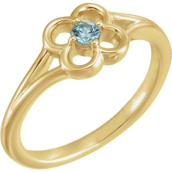 14K Yellow Gold Round Genuine Blue Zircon Flower Youth Ring