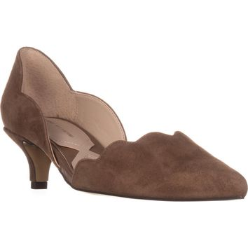 Adrienne Vittadini Serene Scallopped Kitten Pumps, Taupe, 7.5 US