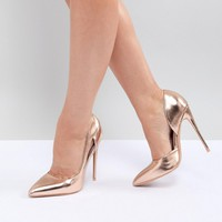 Lost Ink Wide Fit Rose Gold Court Shoes at asos.com