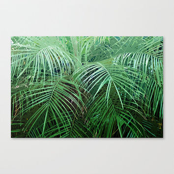 Jungle Palms 2 - Gallery Wrap Canvas, Green Palm Fronds, Boho Beach Surf Decor, Wrapped Canvas Wall Art Hanging. In 8x10 11x14 16x20 20x30
