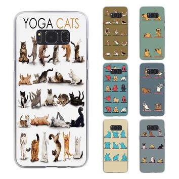 Cute Yoga Samsung Galaxy cats dogs Case S8 S8 Plus Note 5 4 S7 And Edge