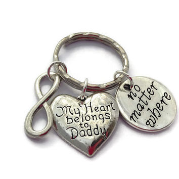 Daughter Keychain, My Heart Belongs To Daddy, Father Daughter Keyring, Infinity Key Ring, No Matter Where, Heart Keychain, Memorial Token
