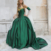 Costume Corset green gown dress fantasy medieval renaissance handmade game of thrones cersei