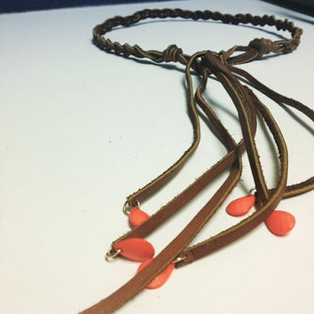 Leather Braided Hippie Headband with Coral Teardrop Accents