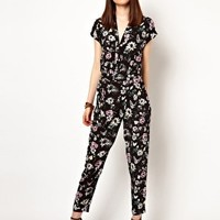 Eleven Paris Jumpsuit in Floral Butterfly Print at asos.com