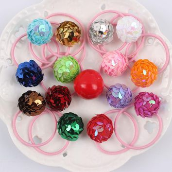 2017 new Fashion girl Elastic Hair Bands Sequins Geometric semicircle combination rubber bands hair accessories for kids 1pcs