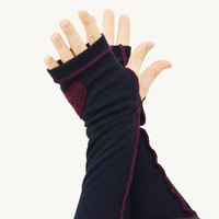 Arm Warmers in Navy Blue Merino Burgundy Stitching and Heart - Upcycled Felted Wool - Fingerless Gloves