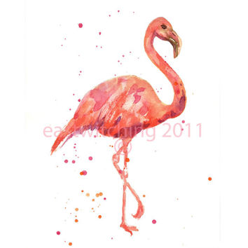 FLAMINGO watercolor print
