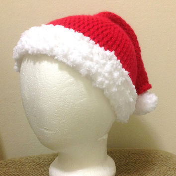 Handmade Crochet Drunk Grinch Santa Claus Hat at any size you like.