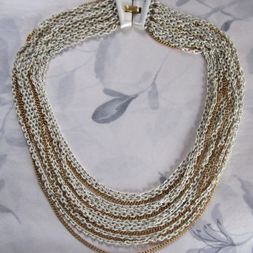 vintage gold tone and white cold enamel multi chain necklace by Trifari - j5115